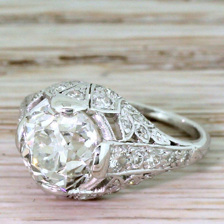 art deco 281 carat old european cut diamond ring circa 1920