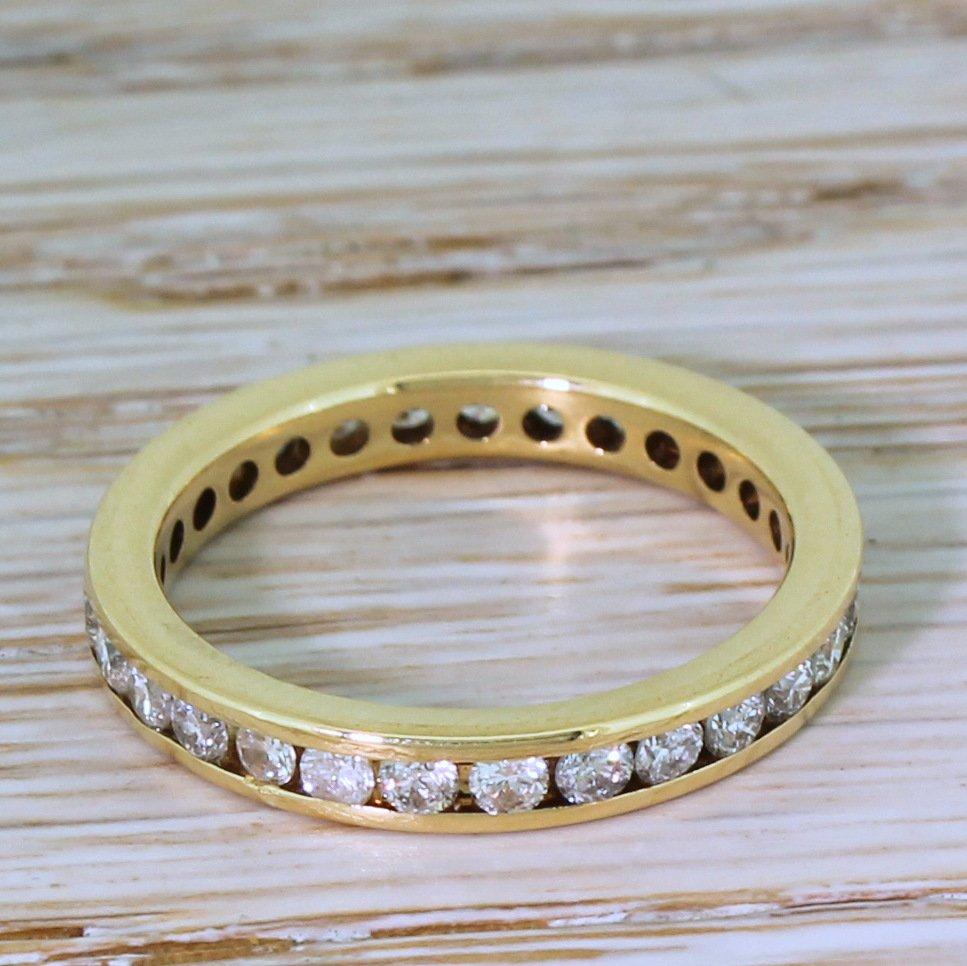 104 carat round brilliant cut diamond full eternity ring 18k yellow gold