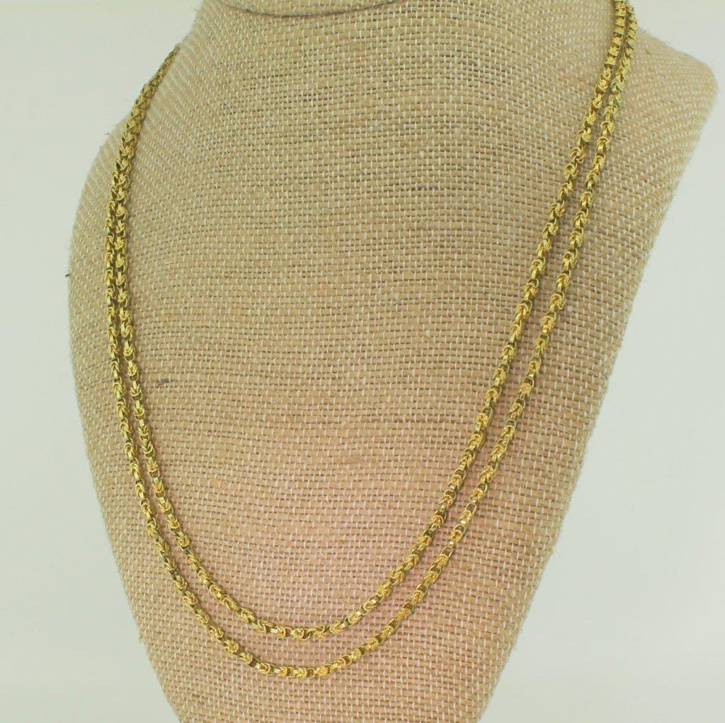 victorian 42 inch yellow gold longaurd chain circa 1850