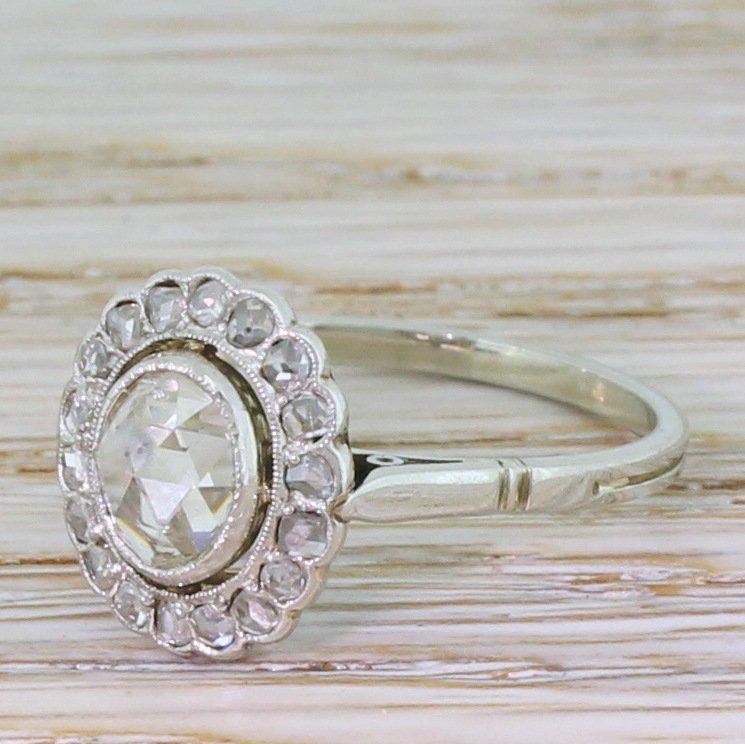 art deco 077 carat rose cut diamond cluster ring circa 1935