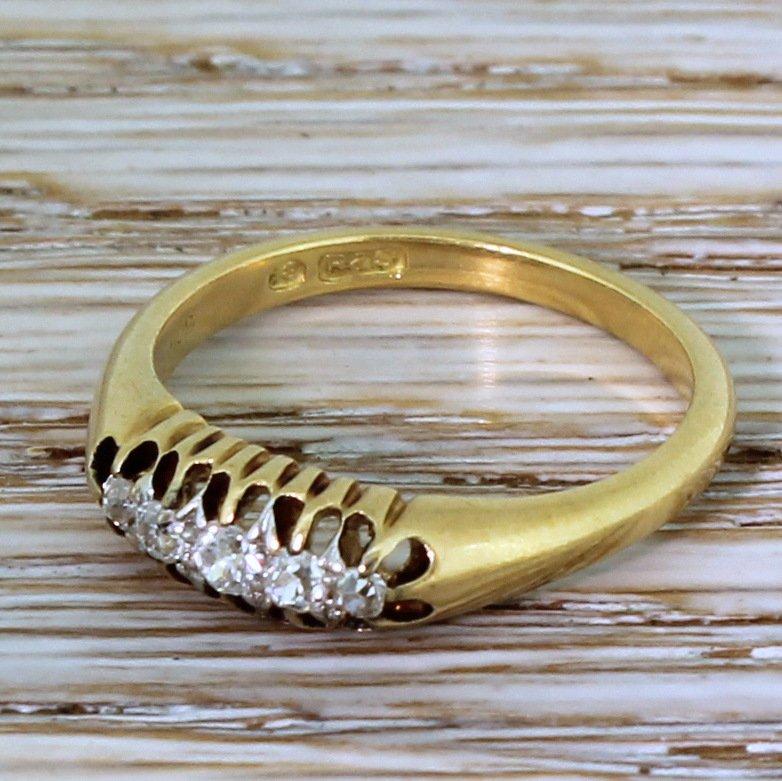 edwardian 014 carat old cut diamond five stone ring circa 1910