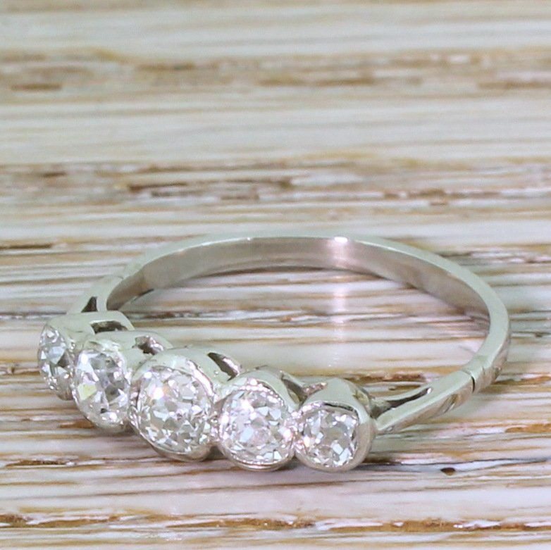 art deco 073 carat old cut diamond five stone ring circa 1940