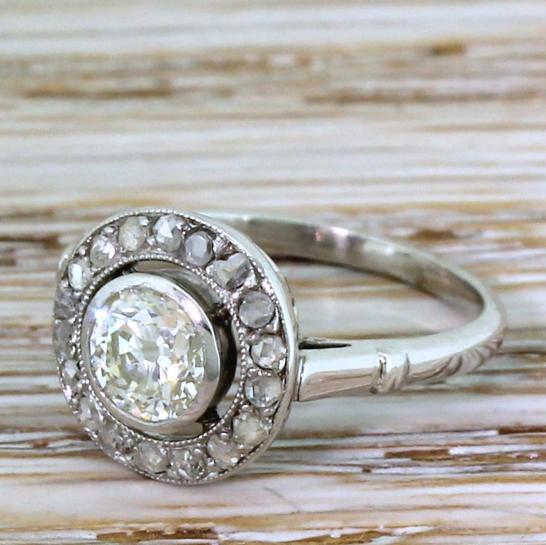 art deco 055 carat old cut 038 rose cut diamond cluster ring circa 1930