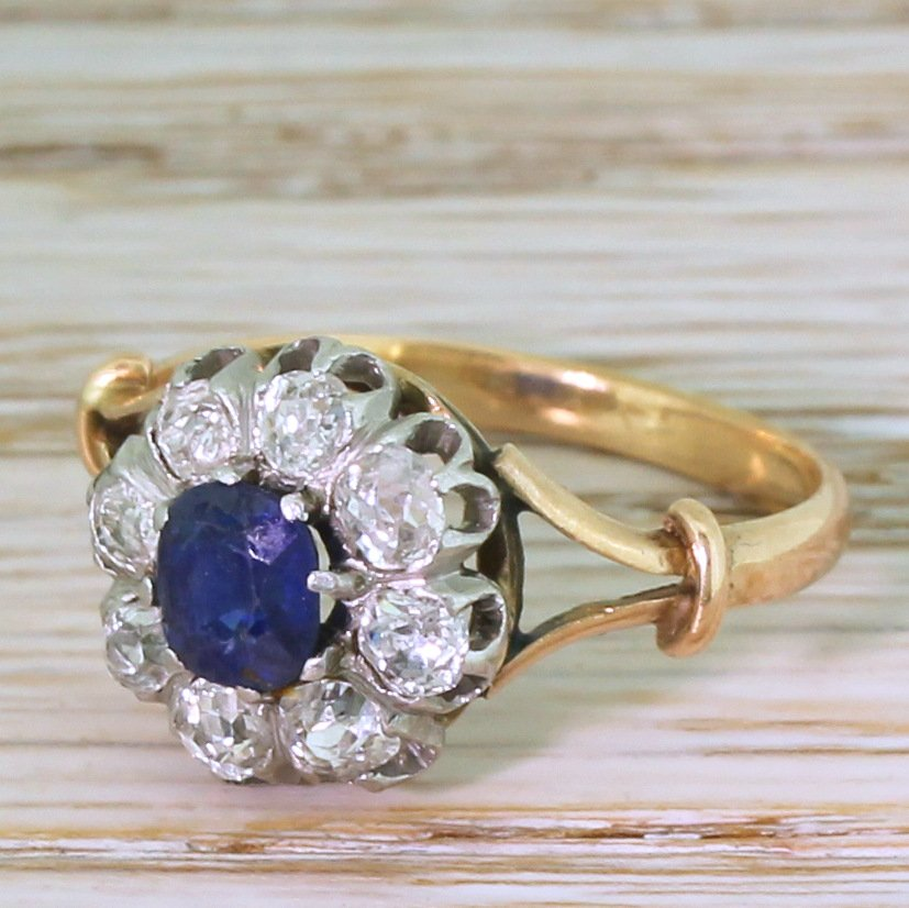 art deco 065 carat sapphire amp 072 carat diamond ring french circa 1925