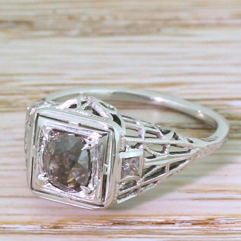mid century 075 carat fancy dark pinkish brown old cut diamond ring circa 1960