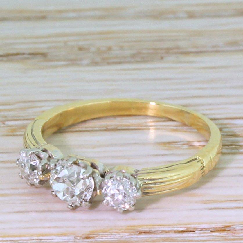 art deco 086 carat old cut diamond trilogy ring circa 1925