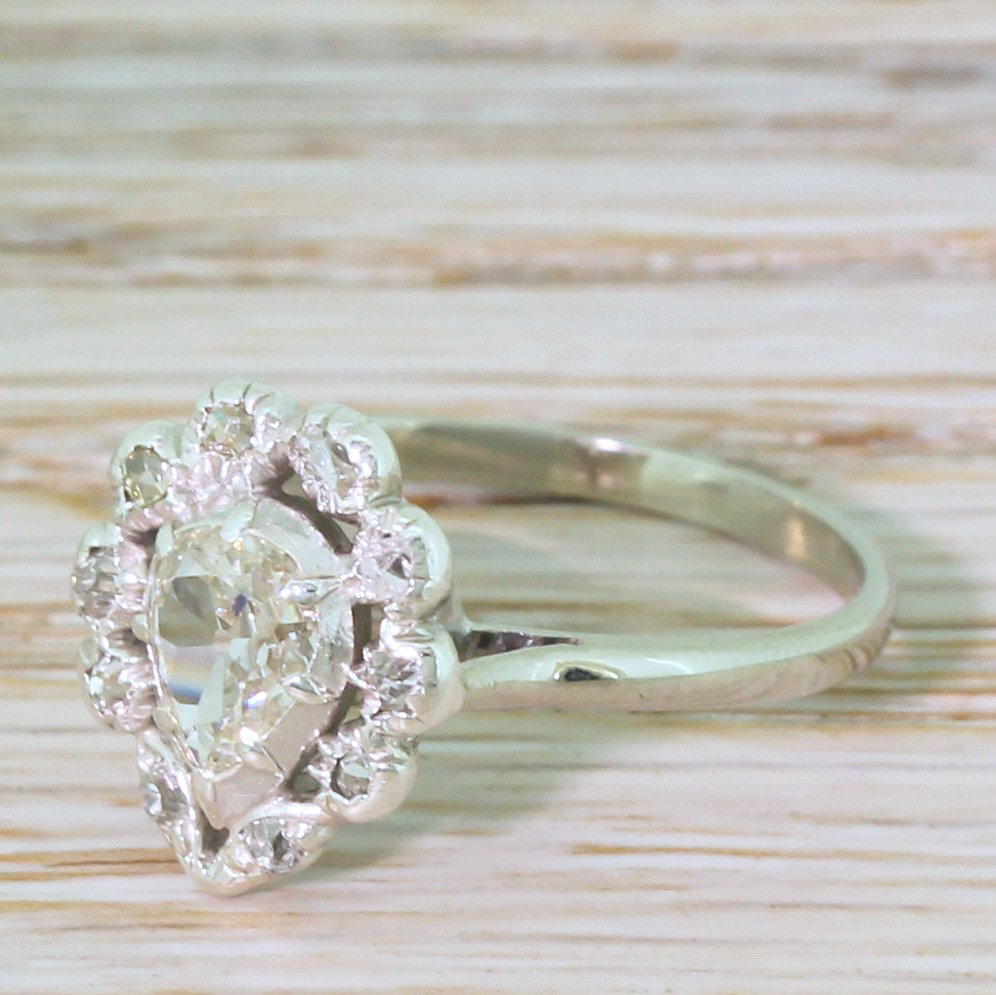 victorian 080 carat old pear cut diamond cluster ring circa 1890