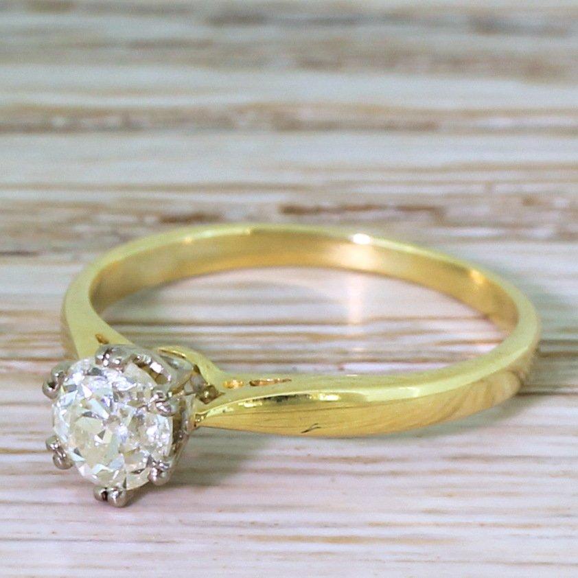 art deco 069 carat old cut diamond engagement ring circa 1940