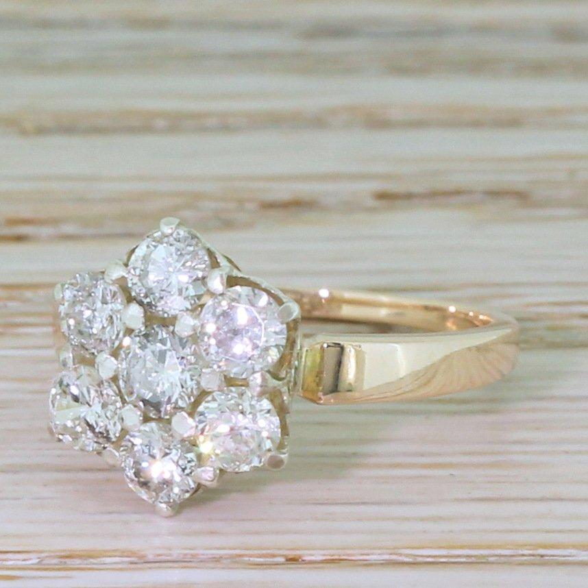 mid century 120 carat round brilliant cut diamond cluster ring circa 1970