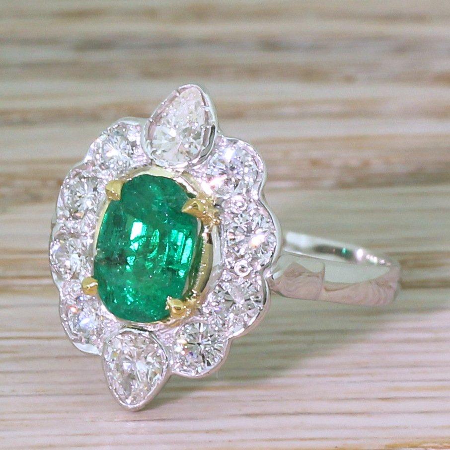 mid century 107 carat emerald amp diamond cluster ring french circa 1970