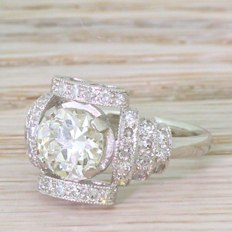 art deco 134 carat old european cut diamond ring circa 1920