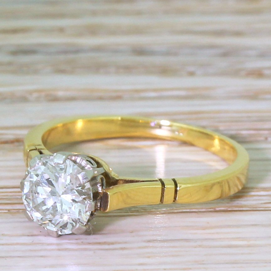 mid century 120 carat transitional cut diamond engagement ring circa 1955