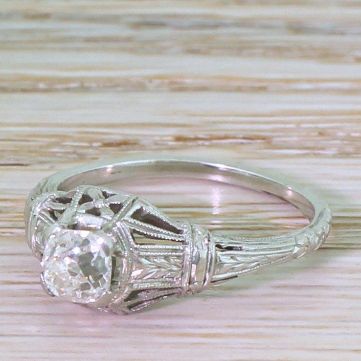 art deco 071 carat old cut diamond engagement ring circa 1940