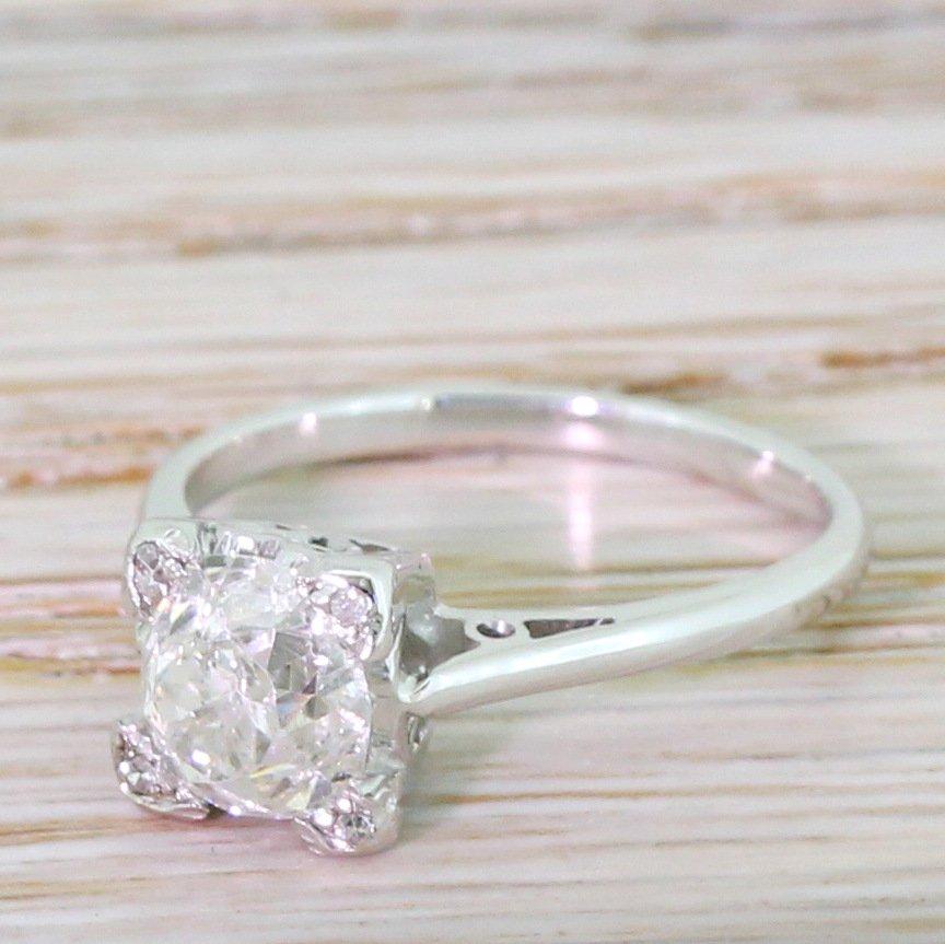 mid century 137 carat old cut diamond engagement ring circa 1965