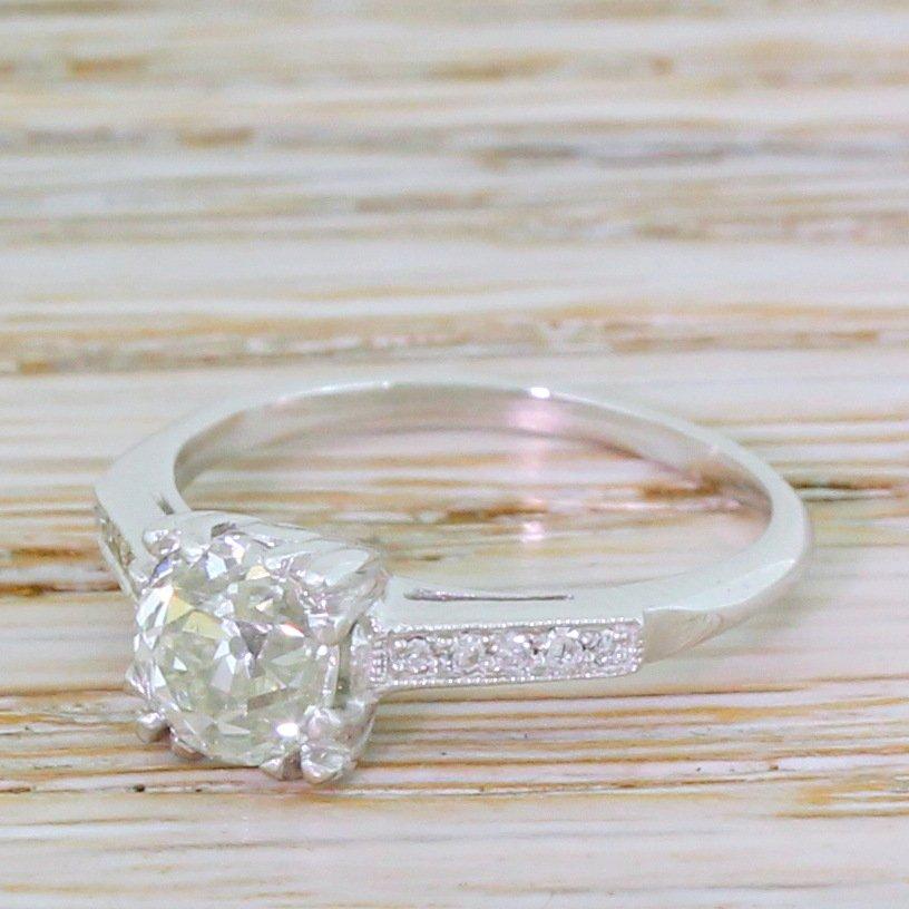 art deco 099 carat old cut colour j diamond engagement ring circa 1925