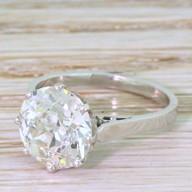 art deco 340 carat old cut diamond engagement ring circa 1920