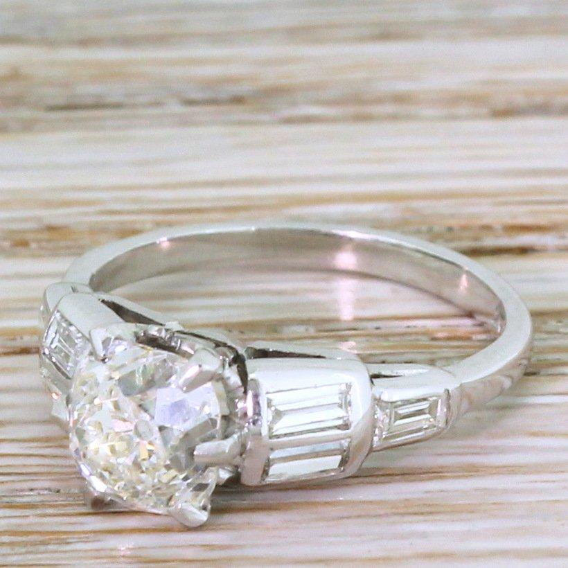 art deco 157 carat old mine cut diamond engagement ring circa 1920