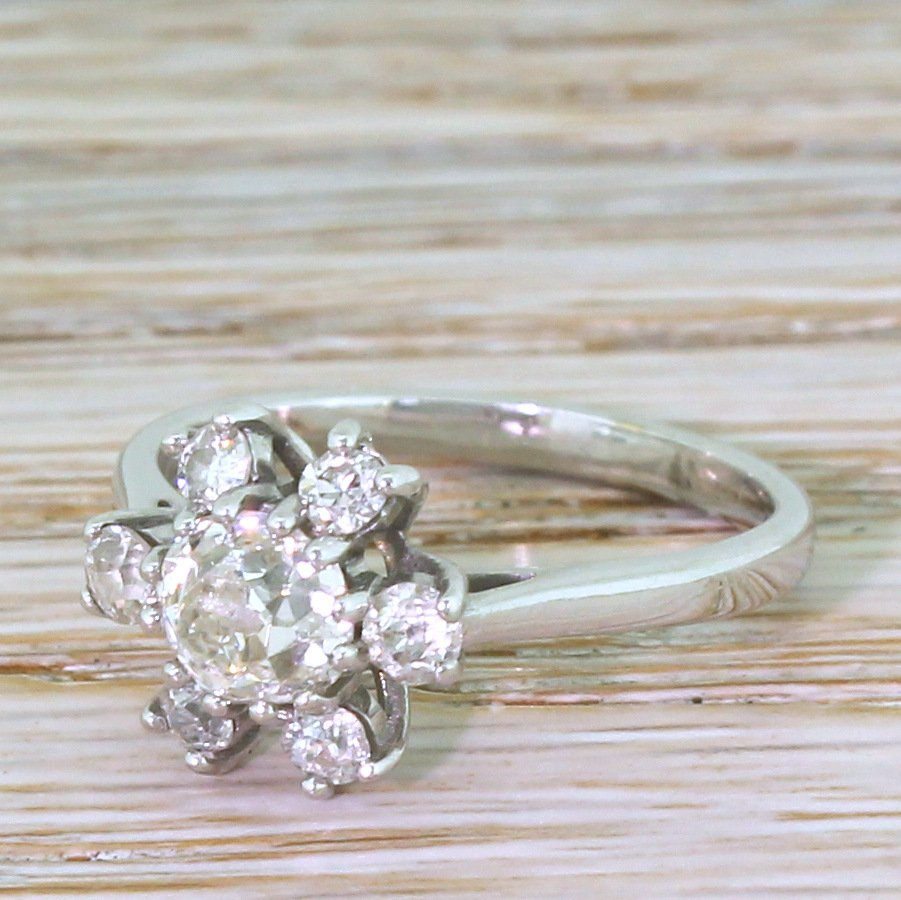 mid century 118 carat old cut diamond cluster ring french circa 1965