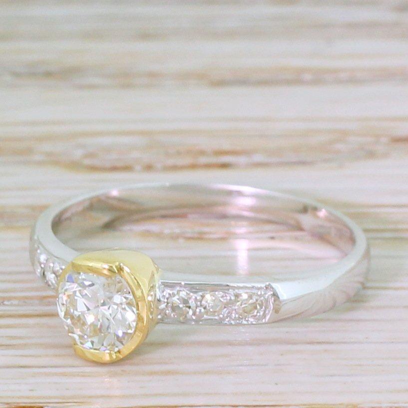 mid century 057 carat old european cut diamond ring circa 1955