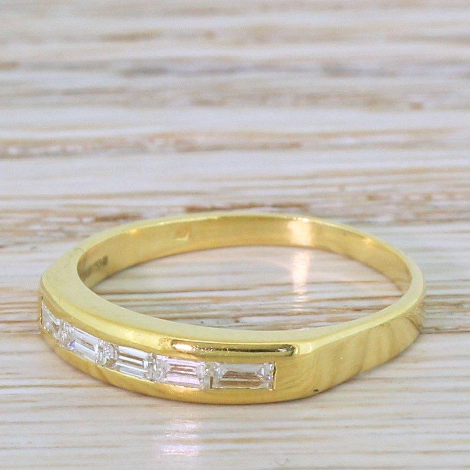 modern 025 carat baguette cut diamond five stone ring 18k yellow gold