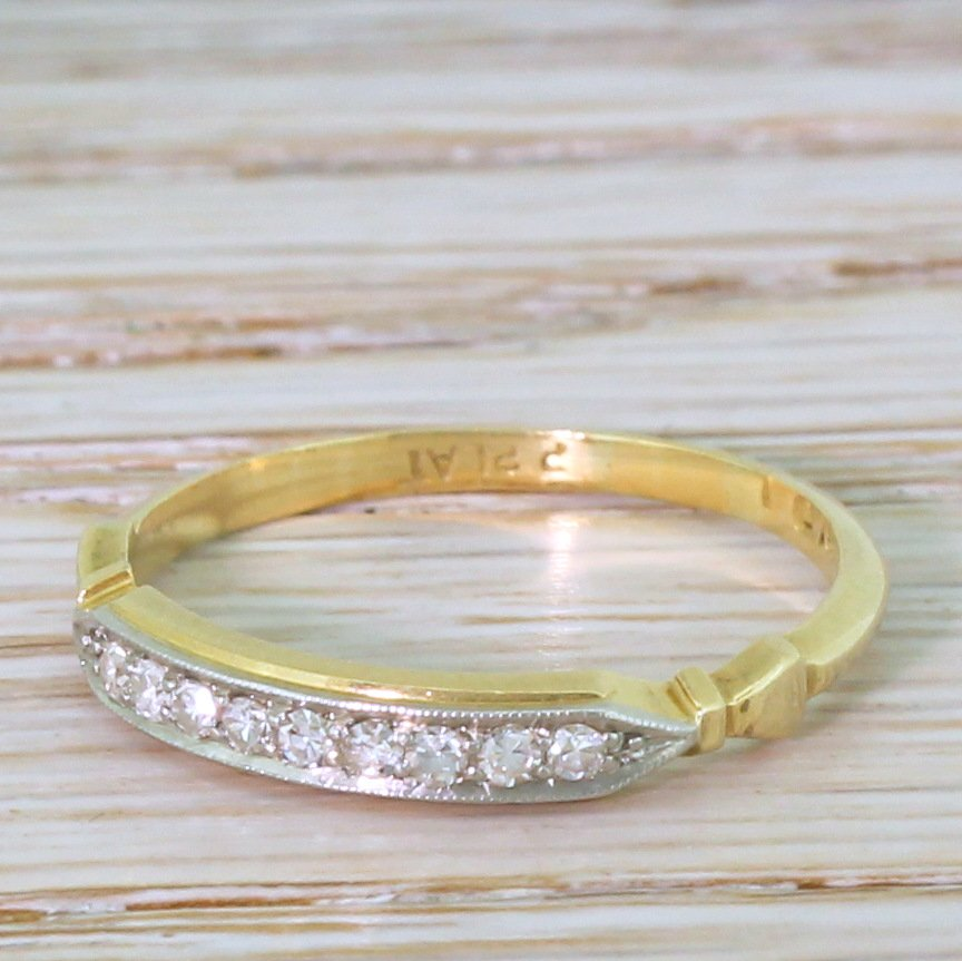 art deco 014 carat diamond half hoop ring circa 1920