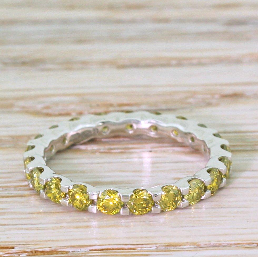 168 carat fancy intense yellow diamond eternity ring platinum