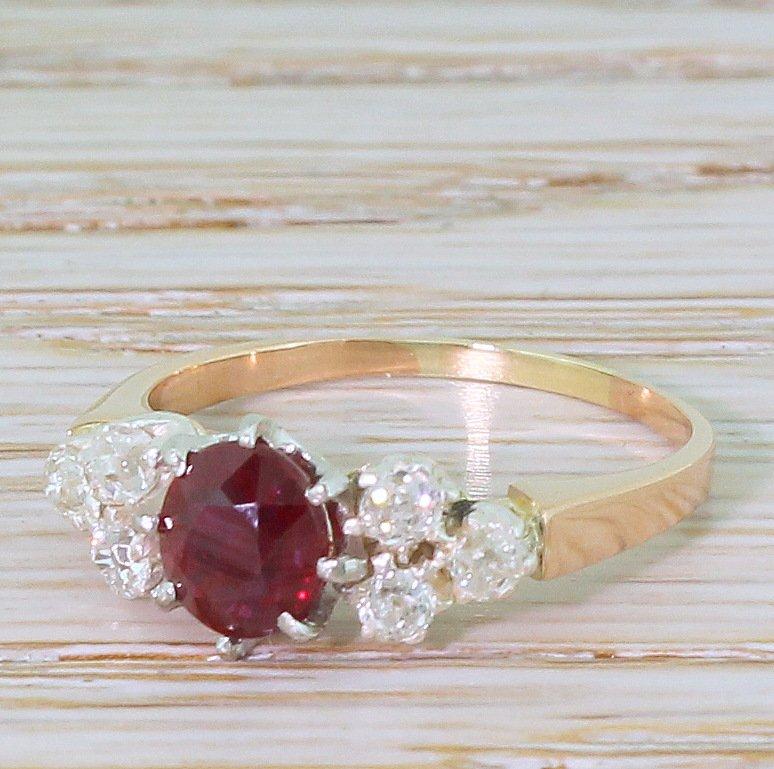 art deco 118 carat natural no heat ruby 038 old cut diamond ring circa 1915