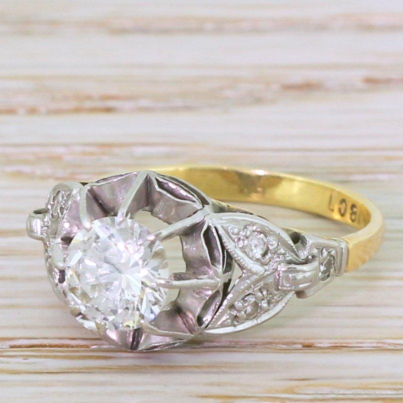 mid century 086 carat transitional cut diamond engagement ring circa 1950