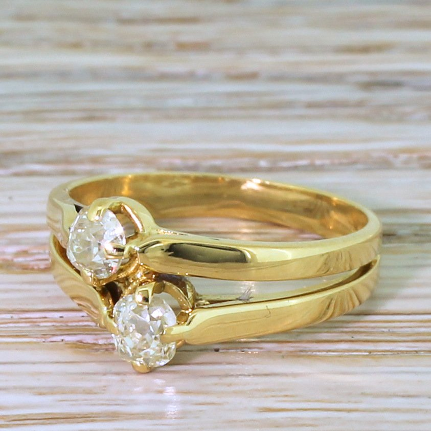 edwardian 062 carat old cut diamond double solitaire ring circa 1910