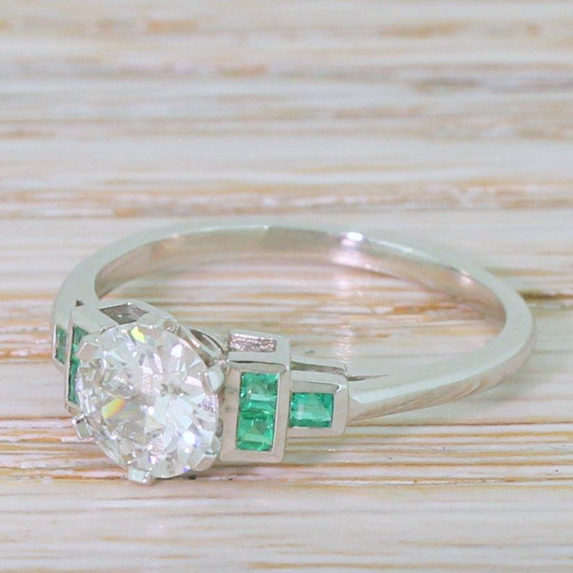 080 carat old european cut diamond 038 emerald ring platinum