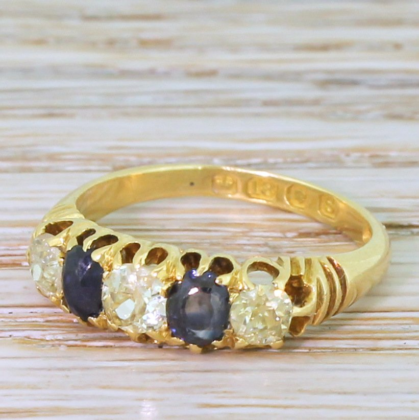 victorian fancy yellow old cut diamond 038 sapphire five stone ring dated 1893
