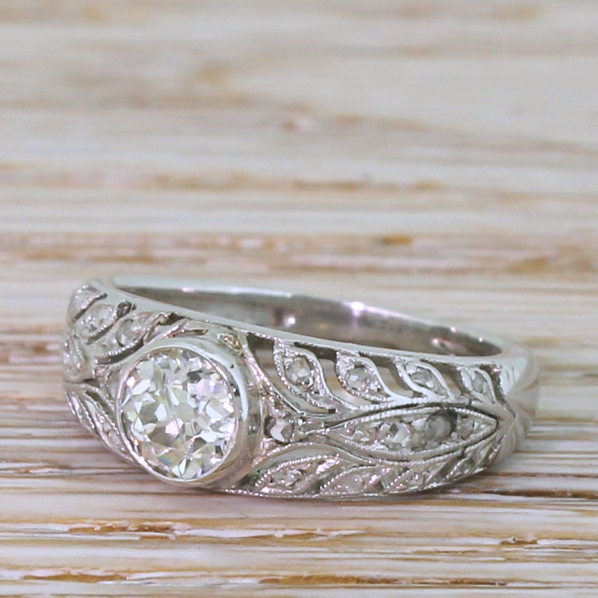 art deco 072 carat old cut diamond solitaire ring circa 1940