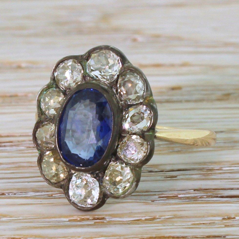 victorian 225 carat sapphire 038 226 carat old cut diamond ring circa 1860