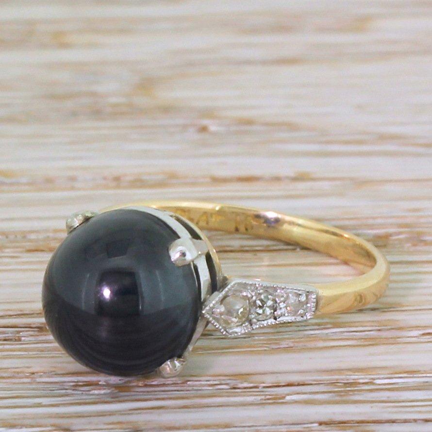 art deco 514 carat cabochon sapphire solitaire ring circa 1925