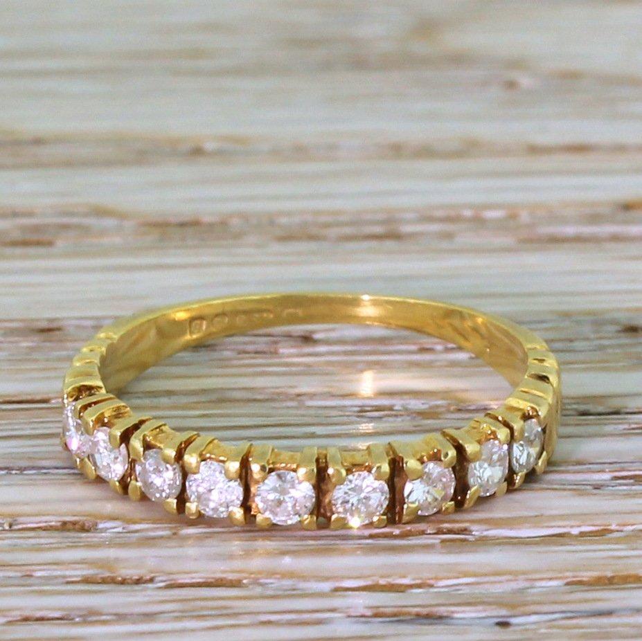 late 20th century 045 carat diamond half eternity ring dated 1976