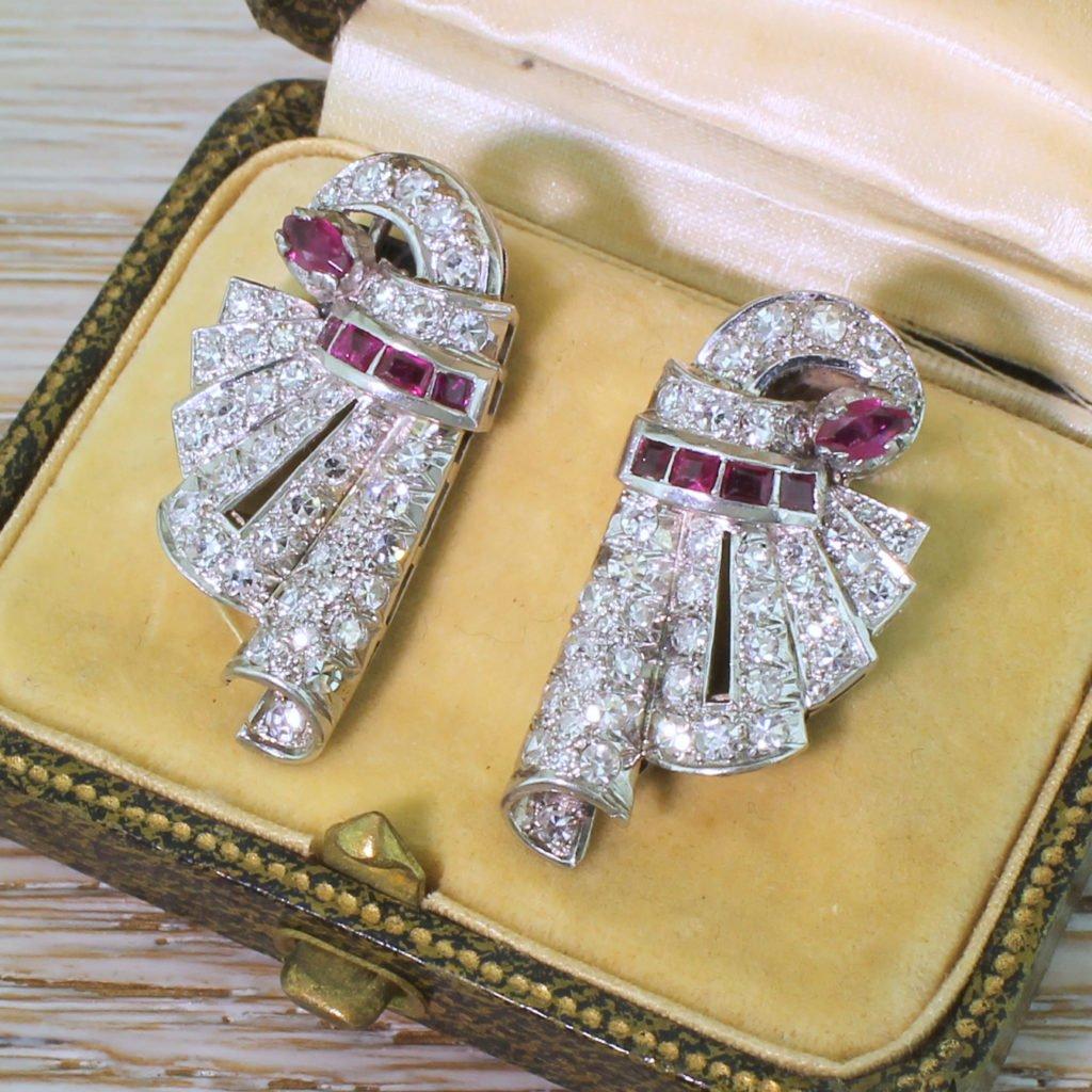 art deco 068 carat ruby 038 130 carat diamond earrings circa 1940