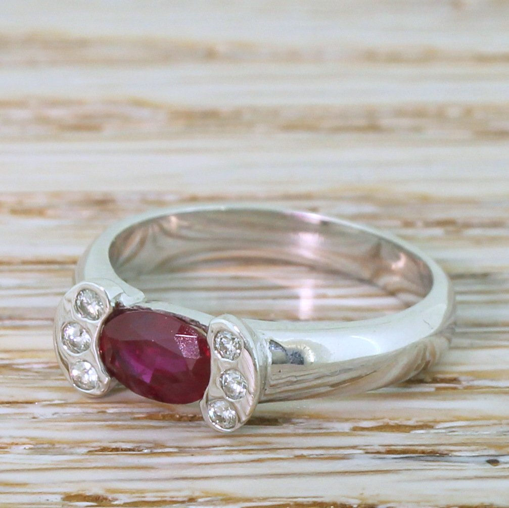 modern 077 carat ruby solitaire ring 18k white gold