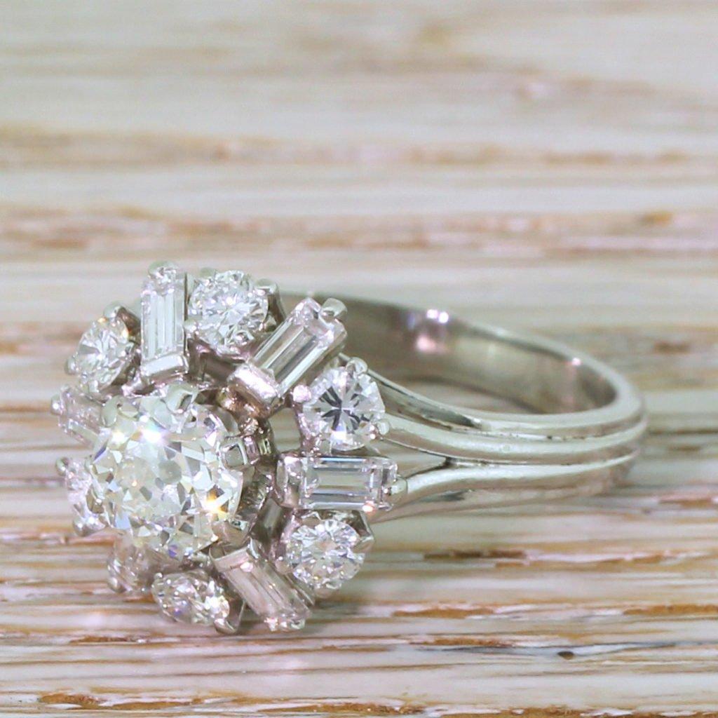mid century 224 old cut diamond cluster ring circa 1965