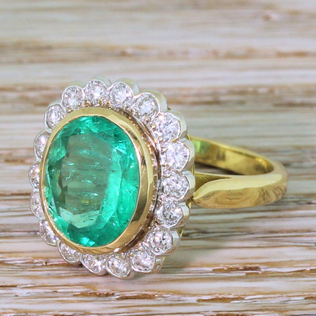 mid century 417 carat colombian emerald 038 diamond cluster ring circa 1965