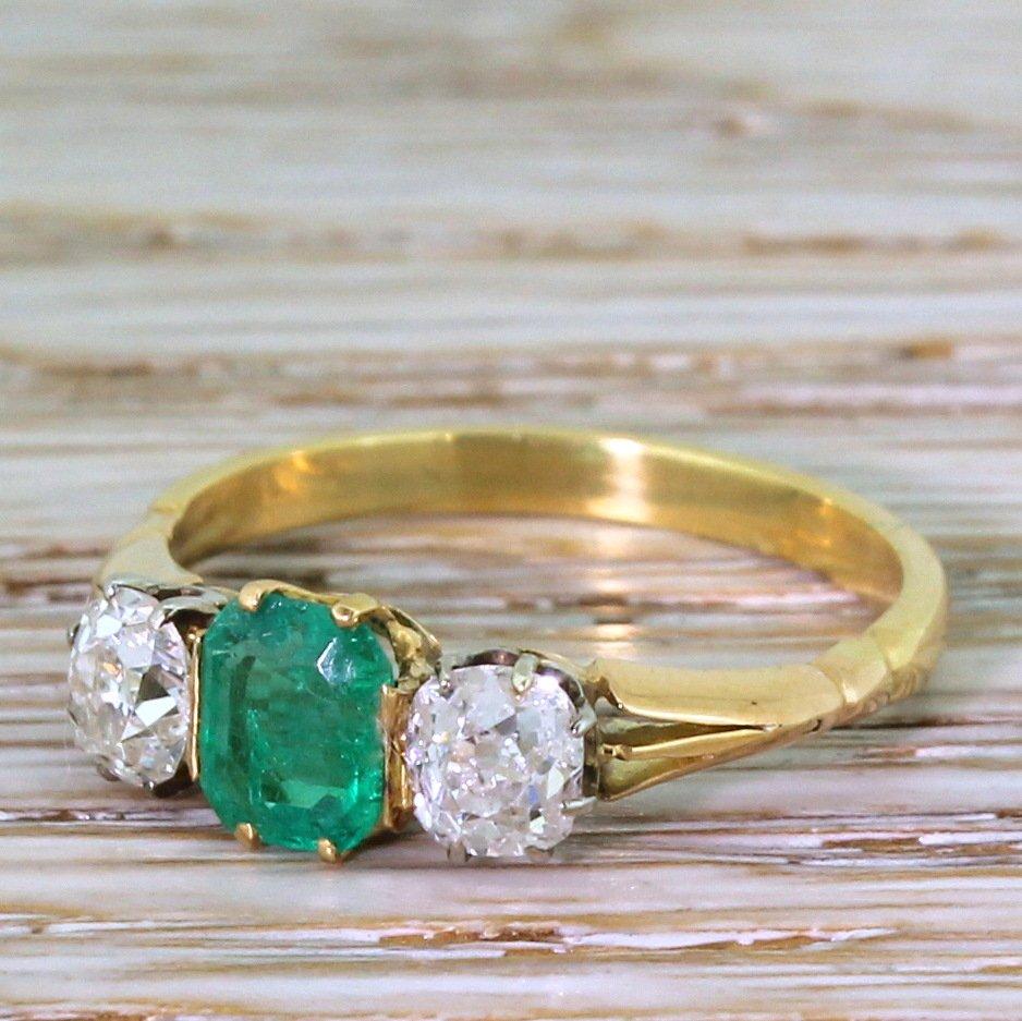 art deco 067 carat emerald 038 090 carat old cut diamond trilogy ring circa 1920