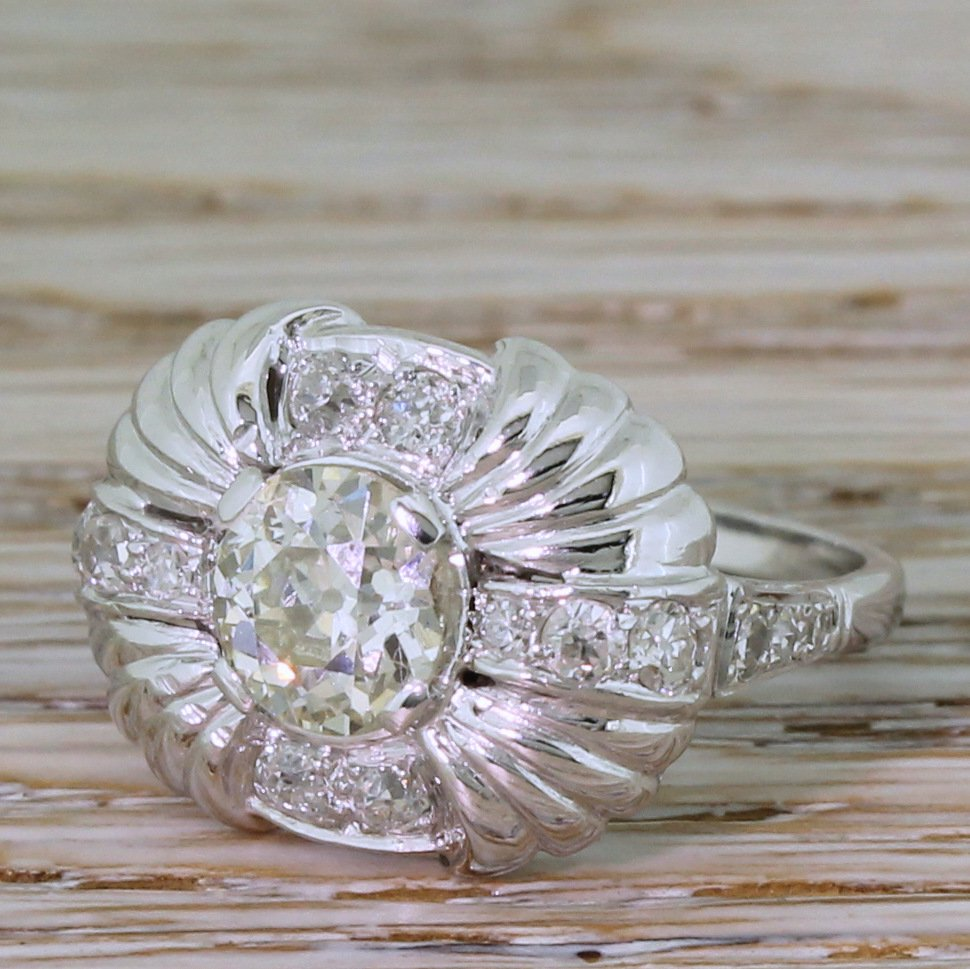 art deco 198 carat old cut diamond cluster ring circa 1940