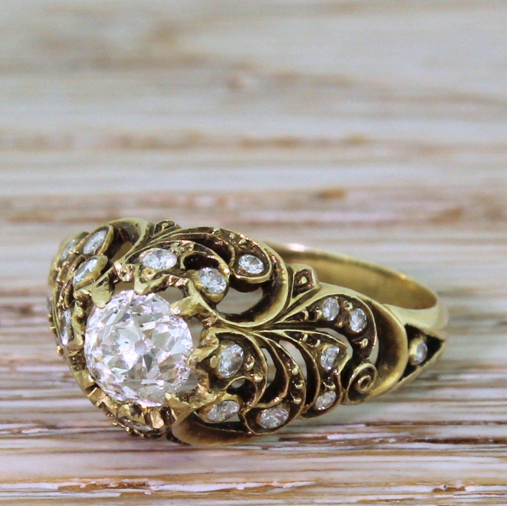 mid century 079 carat old cut diamond ornate solitaire ring circa 1965