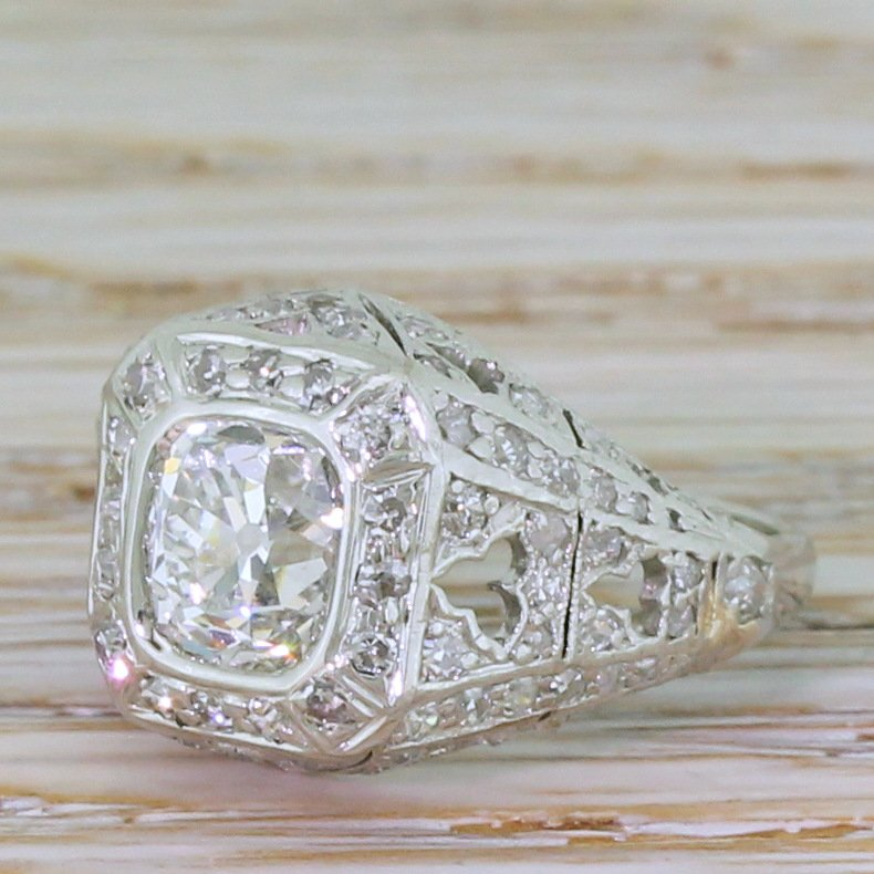 art deco 222 carat old cut diamond cluster ring circa 1925