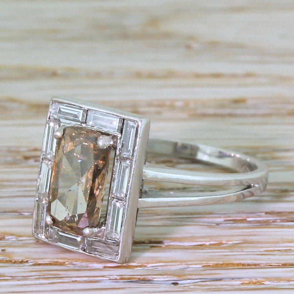 retro 283 carat fancy orangey brown 038 baguette cut diamond ring circa 1950