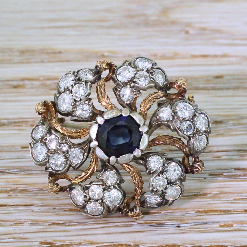 buccellati 156 carat sapphire 038 141 carat diamond brooch circa 1960