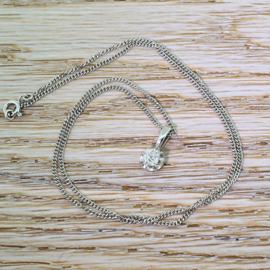 art deco 052 carat old cut diamond solitaire pendant french circa 1940