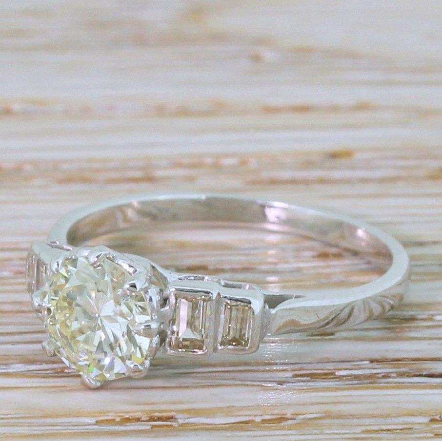 art deco 110 carat transitional cut diamond engagement ring circa 1945