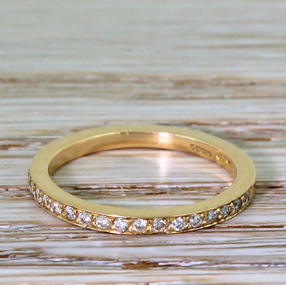 017 carat round brilliant cut diamond half eternity ring 18k rose gold