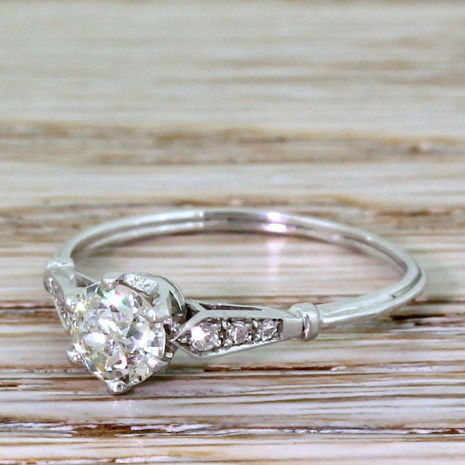 art deco 071 carat old cut diamond engagement ring circa 1925