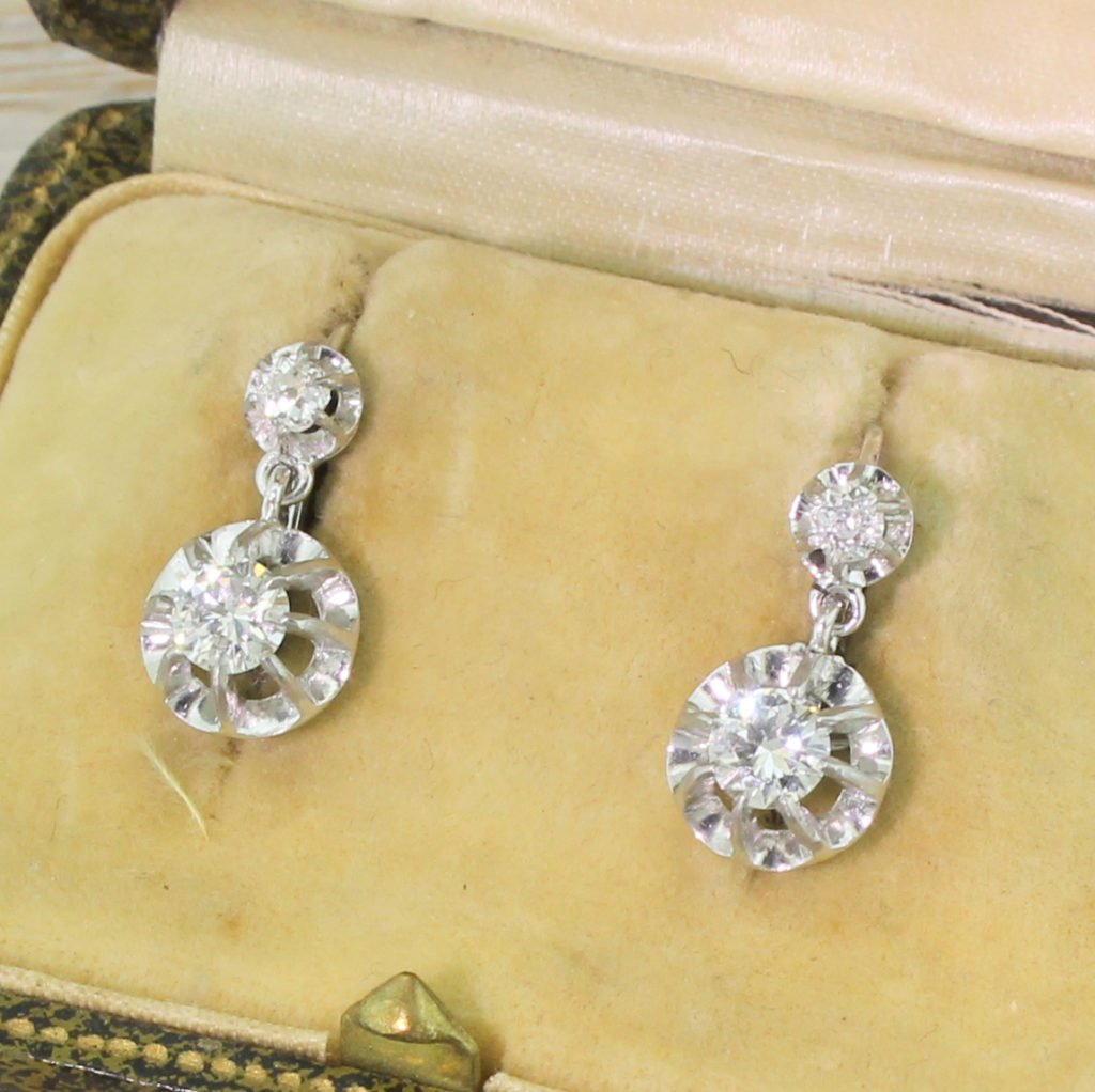 mid century 084 carat diamond drop earrings circa 1960